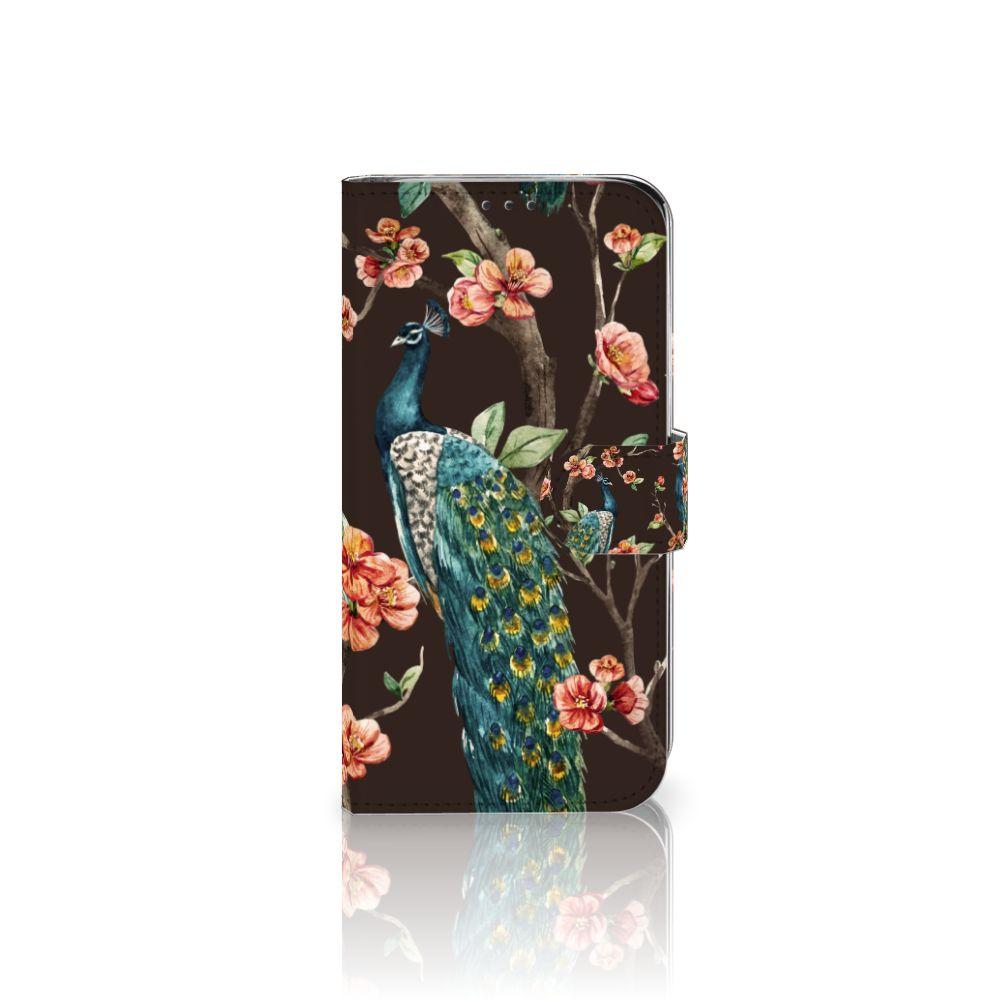 Xiaomi Mi A2 Lite Boekhoesje Design Pauw met Bloemen