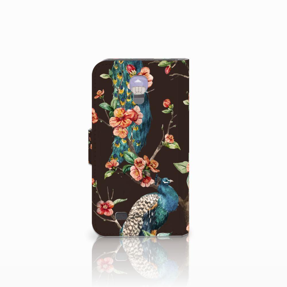 Samsung Galaxy S4 Telefoonhoesje met Pasjes Pauw met Bloemen