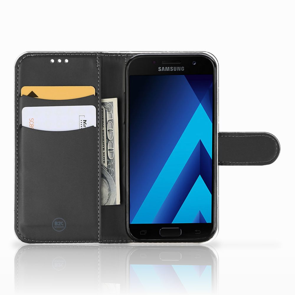 Samsung Galaxy A5 2017 Bookcase Marmer Zwart - Origineel Cadeau Vader