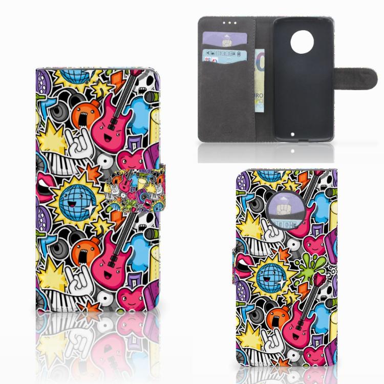 Motorola Moto X4 Wallet Case met Pasjes Punk Rock