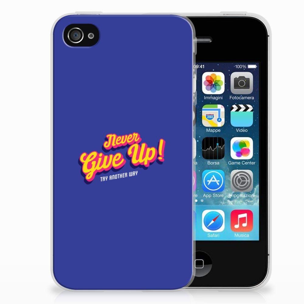 Apple iPhone 4   4s Siliconen hoesje met naam Never Give Up