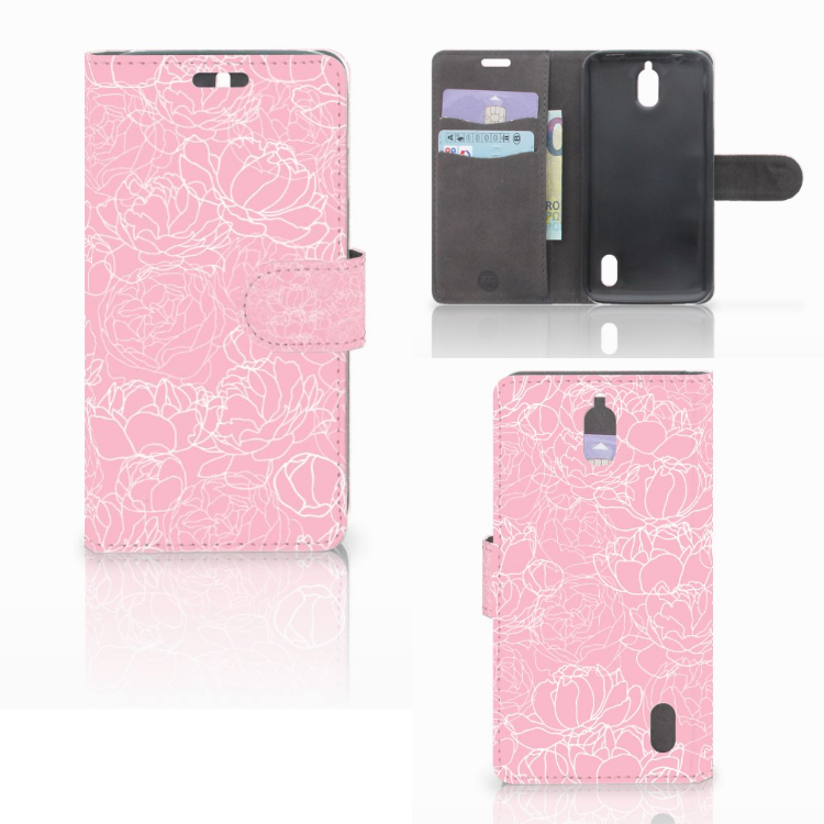 Huawei Y625 Wallet Case White Flowers