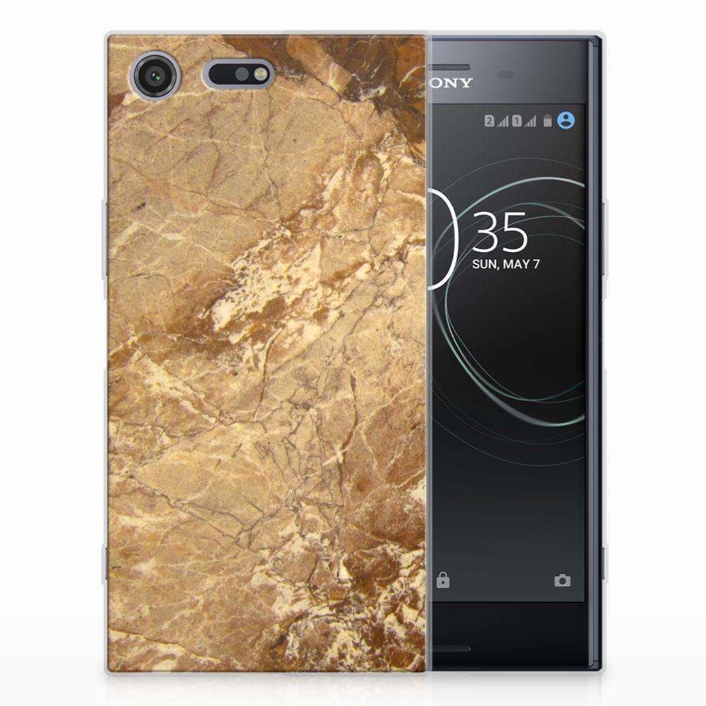Sony Xperia XZ Premium TPU Siliconen Hoesje Marmer Creme