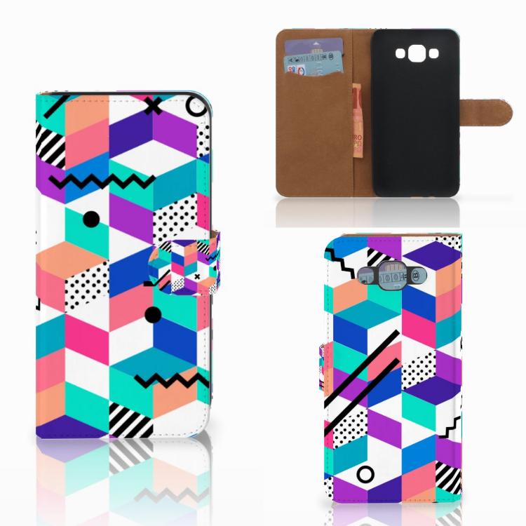 Samsung Galaxy E7 Bookcase Blokken Kleurrijk