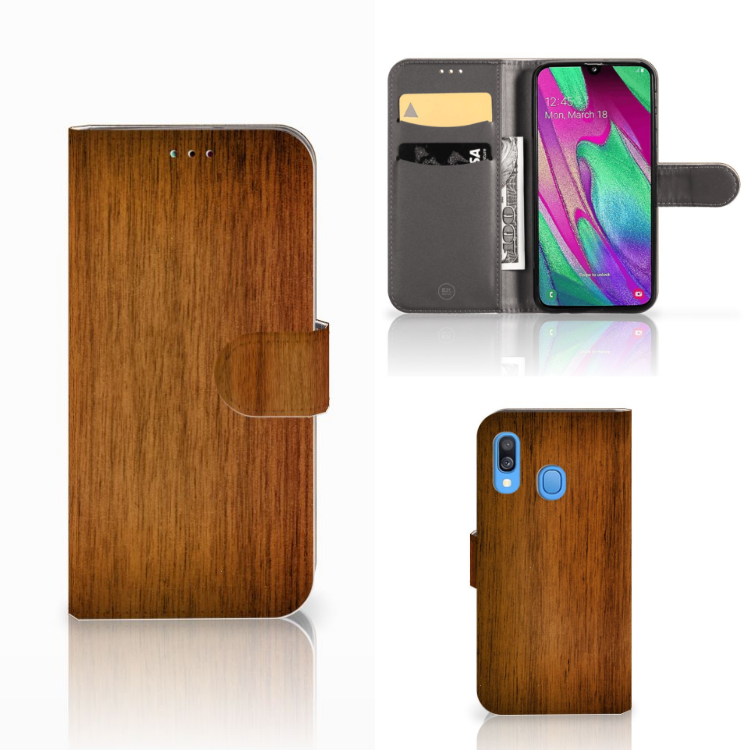 Samsung Galaxy A40 Book Style Case Donker Hout
