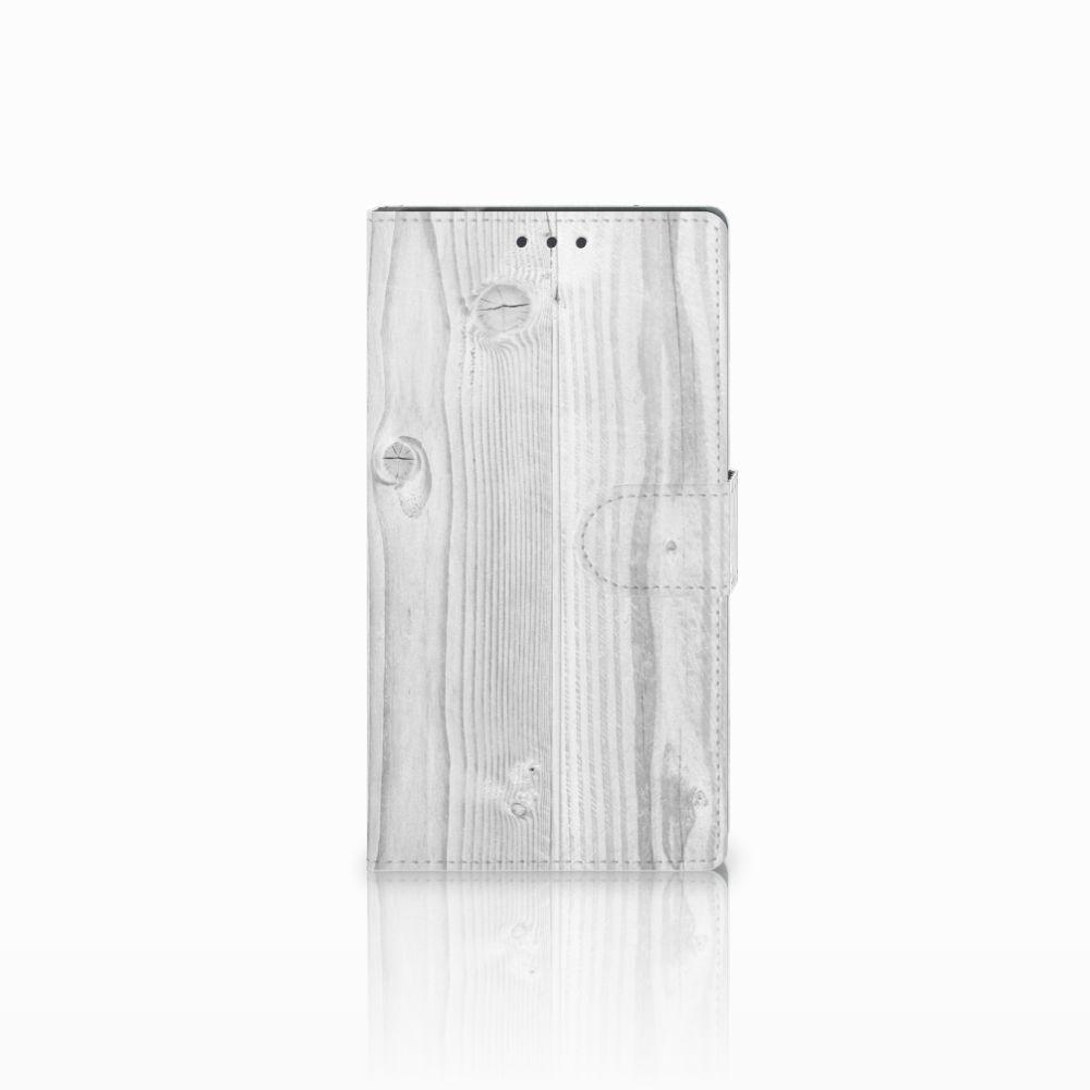 Samsung Galaxy Note 4 Boekhoesje Design White Wood