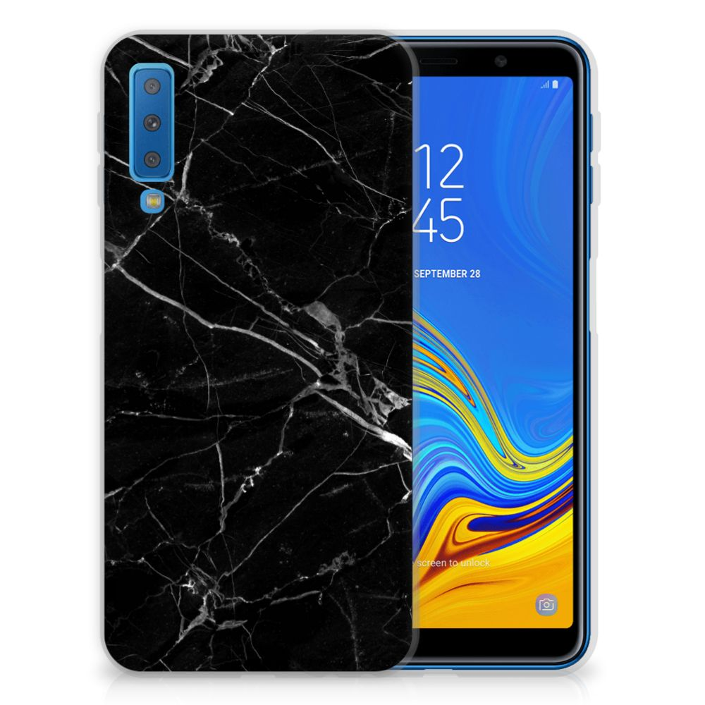 Samsung Galaxy A7 (2018) TPU Siliconen Hoesje Marmer Zwart