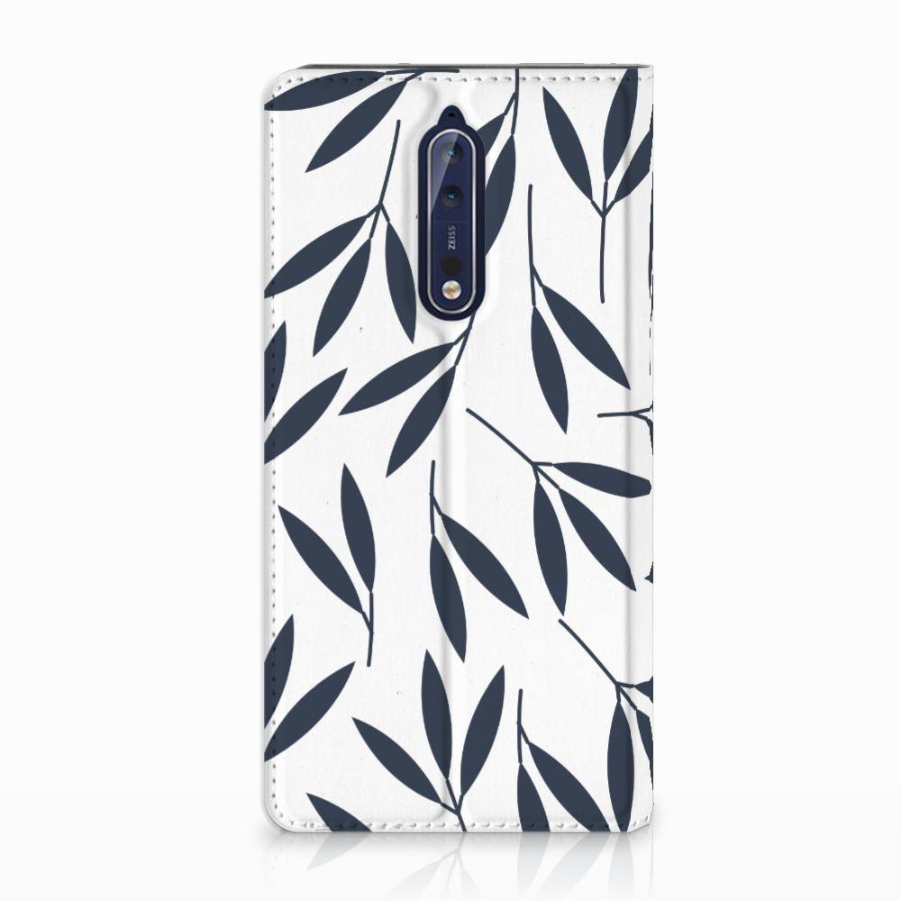 Nokia 8 Standcase Hoesje Design Leaves Blue