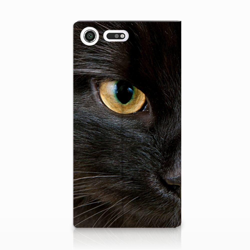 Sony Xperia XZ Premium Uniek Standcase Hoesje Zwarte Kat