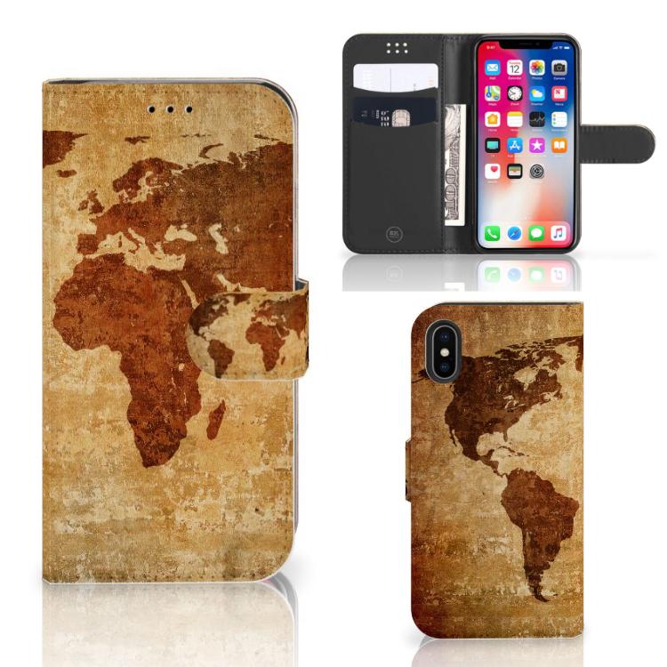Apple iPhone X | Xs Flip Cover Wereldkaart