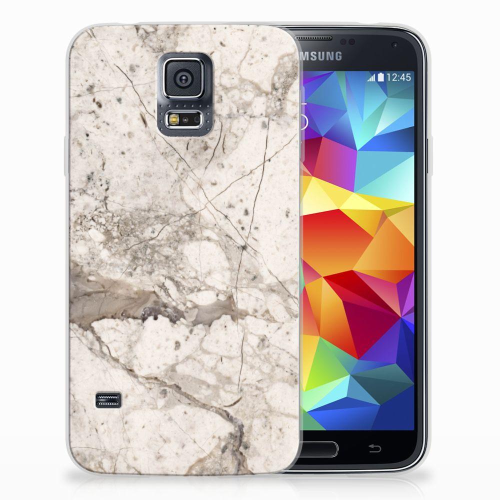 Samsung Galaxy S5 TPU Siliconen Hoesje Marmer Beige
