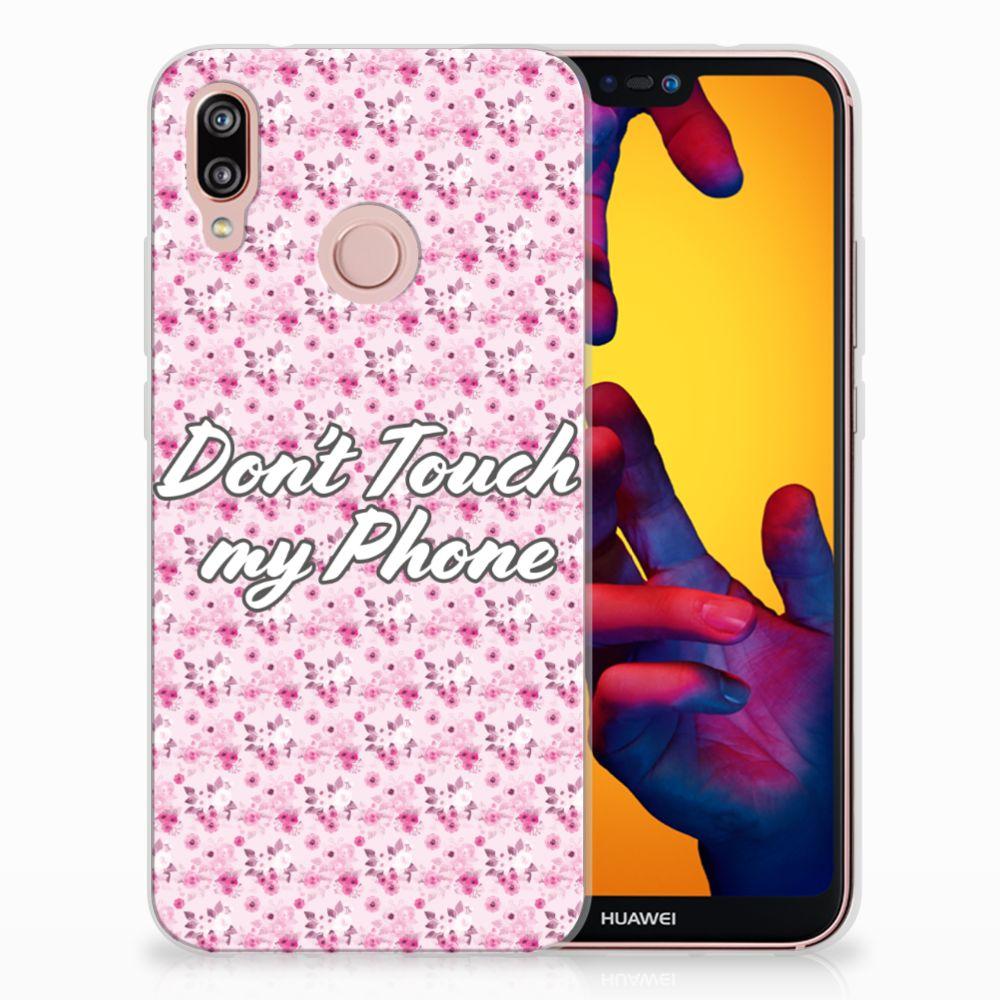 Huawei P20 Lite Uniek TPU Hoesje Flowers Pink DTMP