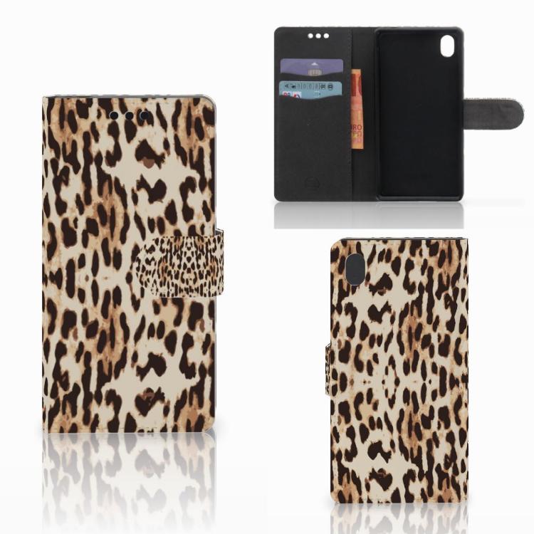 Sony Xperia M4 Aqua Telefoonhoesje met Pasjes Leopard