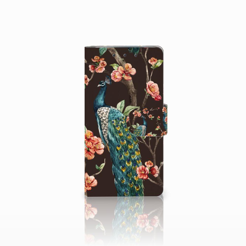 HTC One M7 Boekhoesje Design Pauw met Bloemen