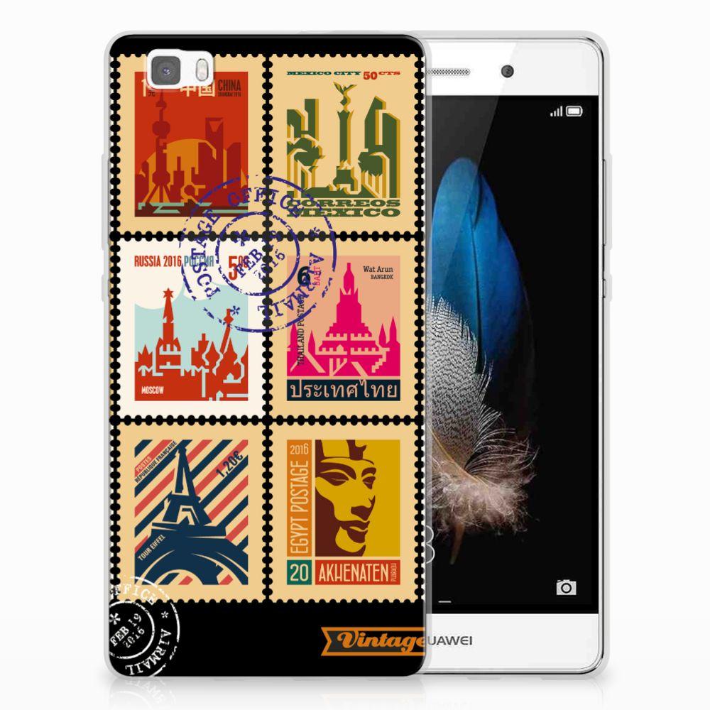 Huawei Ascend P8 Lite Siliconen Back Cover Postzegels