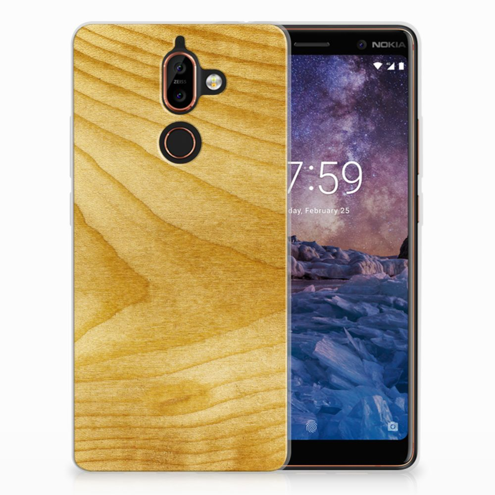 Nokia 7 Plus Uniek TPU Hoesje Licht Hout