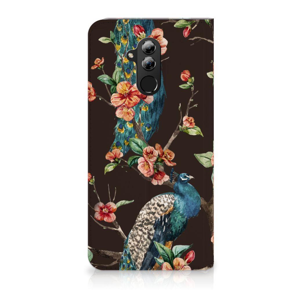 Huawei Mate 20 Lite Standcase Hoesje Design Pauw met Bloemen