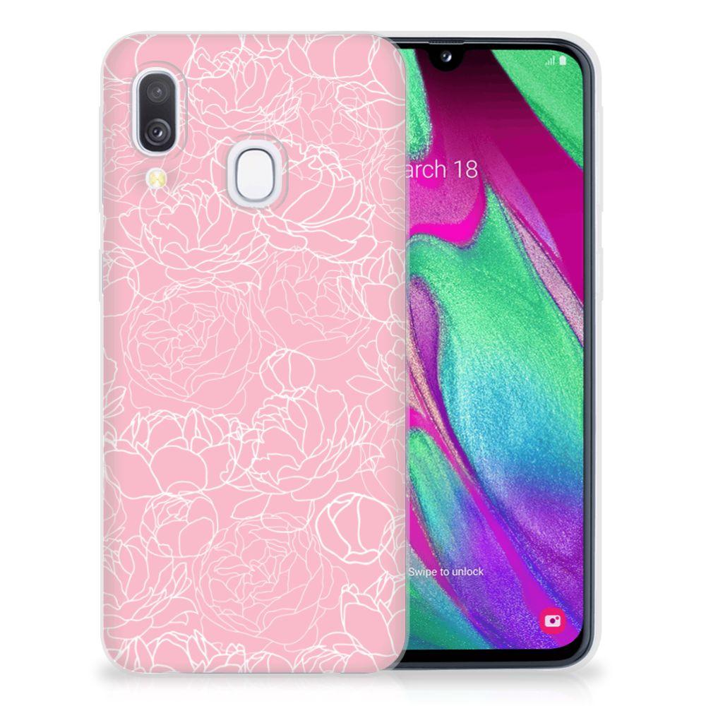Samsung Galaxy A40 TPU Case White Flowers
