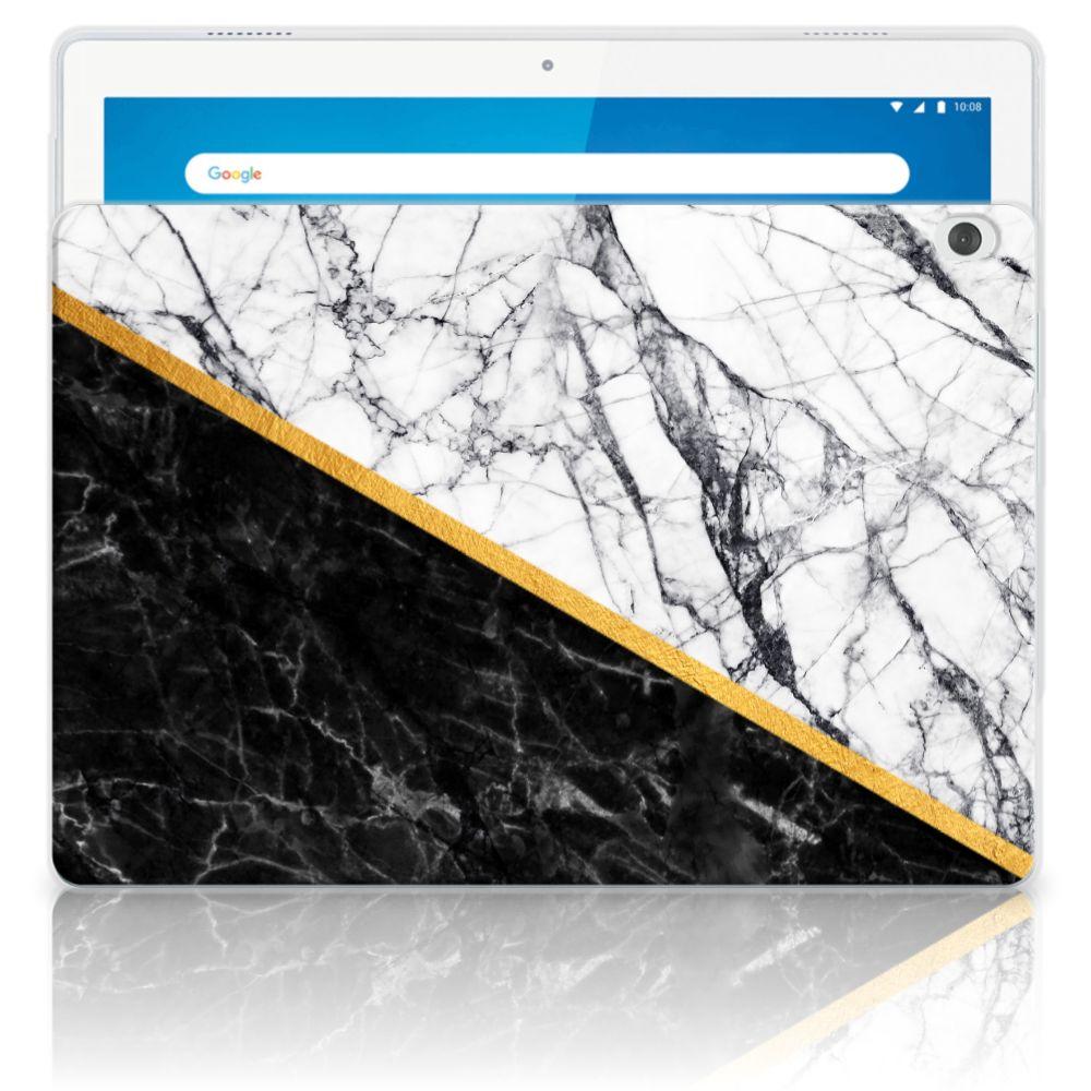 Lenovo Tab M10 Tablet Back Cover Marmer Wit Zwart - Origineel Cadeau Man