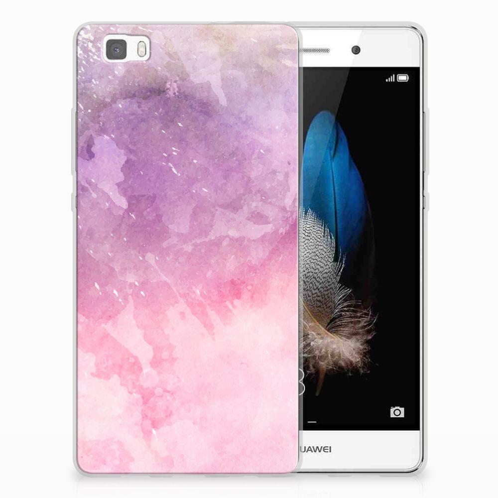 Huawei Ascend P8 Lite TPU Hoesje Design Pink Purple Paint