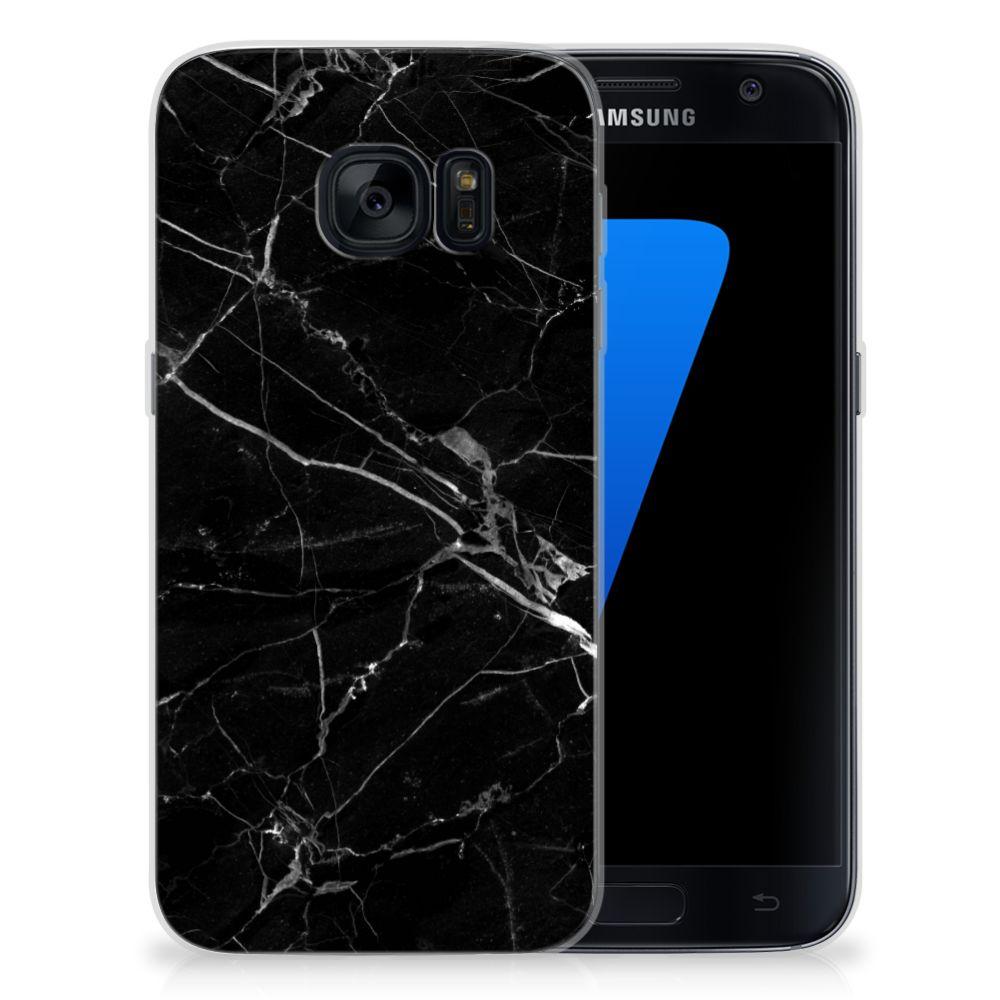 Samsung Galaxy S7 TPU Siliconen Hoesje Marmer Zwart