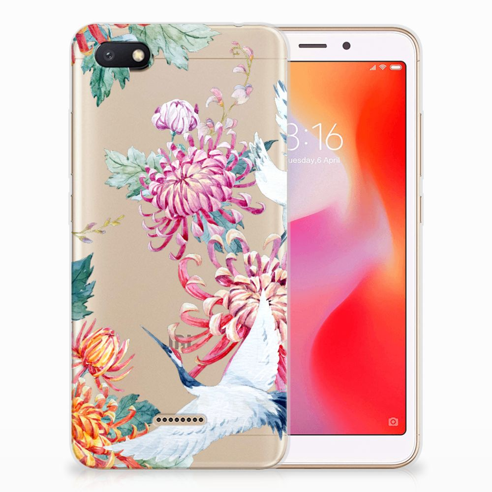 Xiaomi Redmi 6A TPU Hoesje Bird Flowers