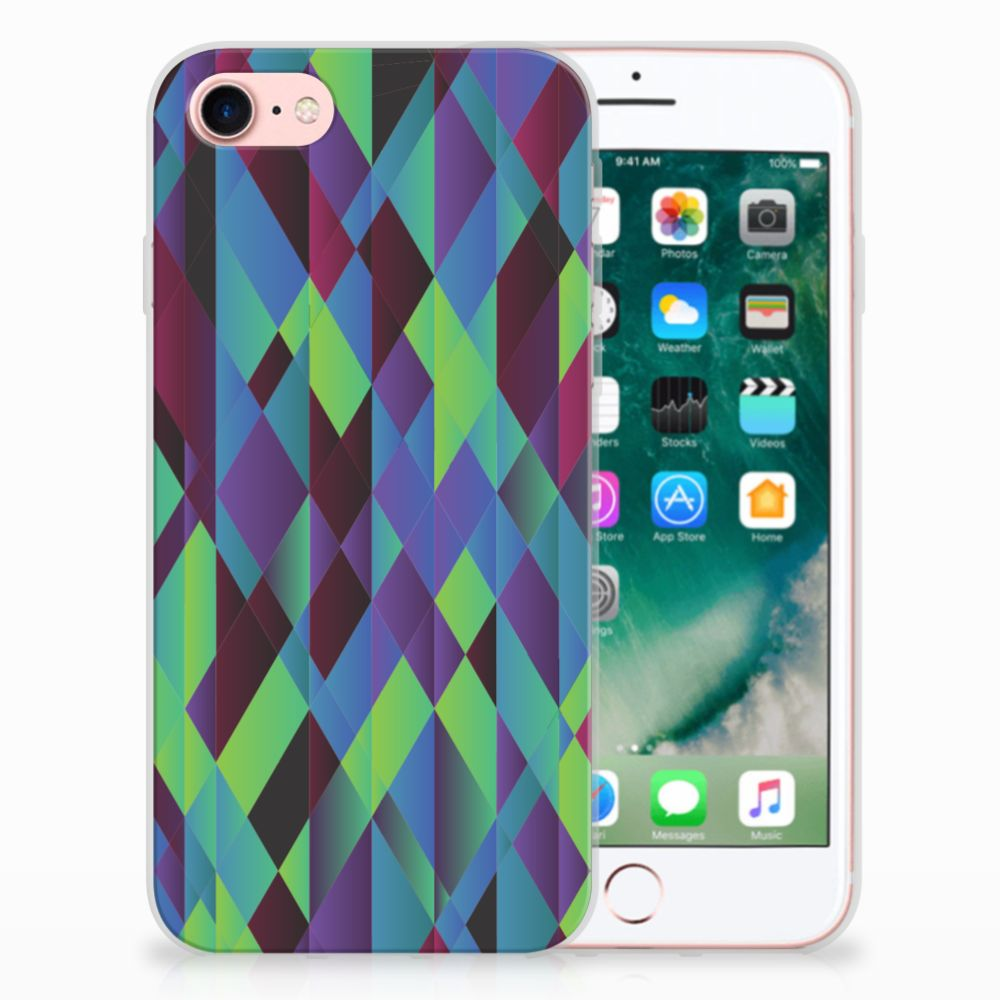 Apple iPhone 7 | 8 TPU Hoesje Abstract Green Blue