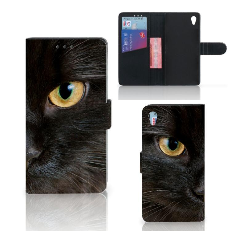 Sony Xperia Z3 Telefoonhoesje met Pasjes Zwarte Kat
