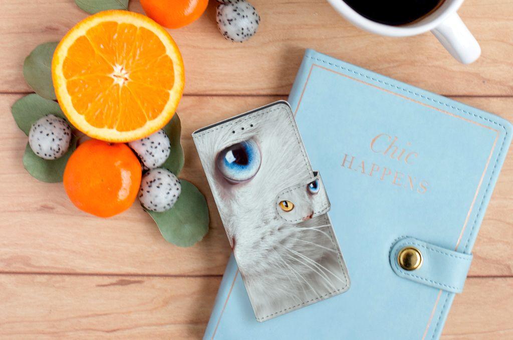 Samsung Galaxy S5 | S5 Neo Telefoonhoesje met Pasjes Witte Kat