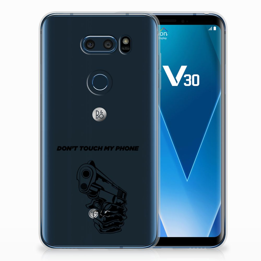 LG V30 Silicone-hoesje Gun Don't Touch My Phone