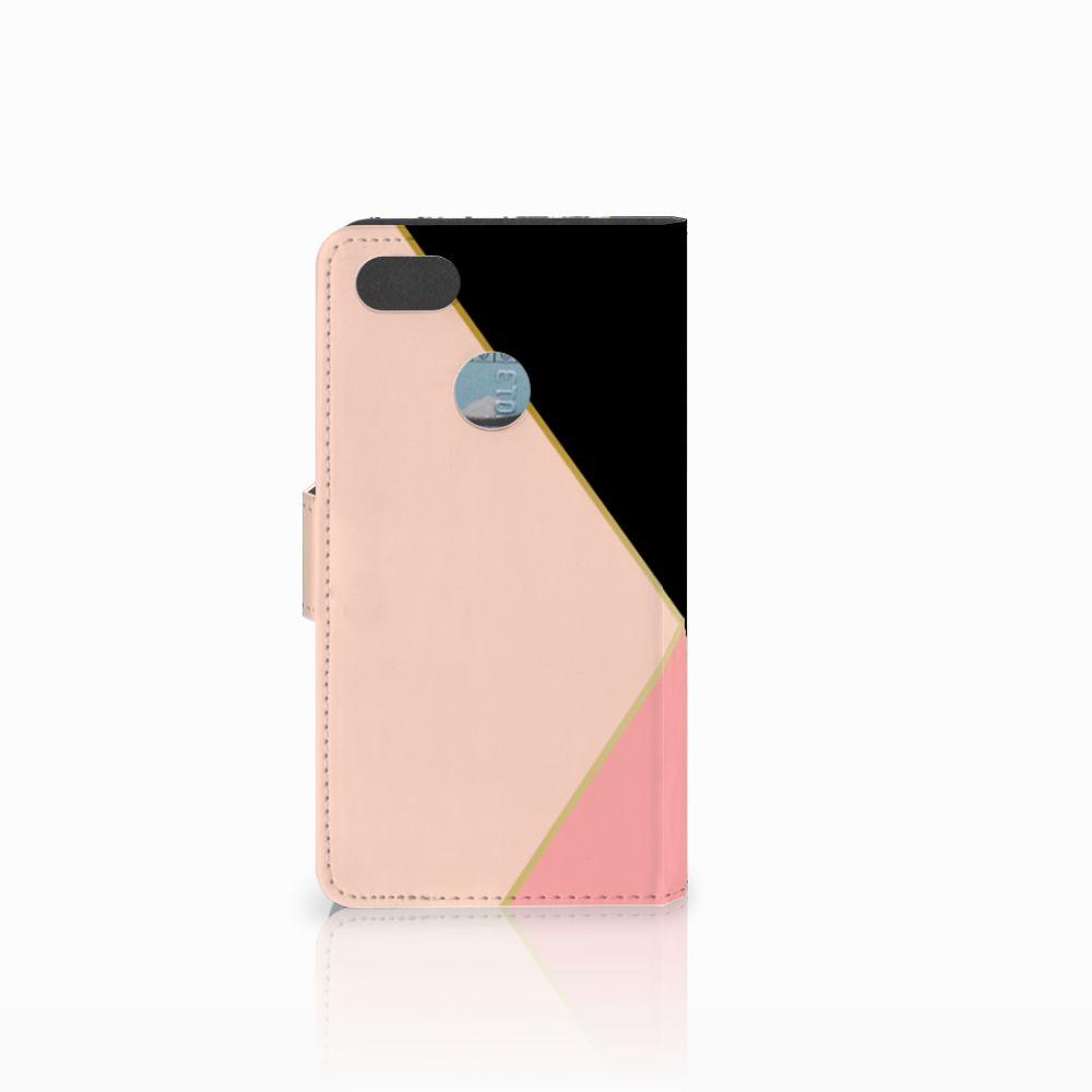 Huawei Y6 Pro 2017 Bookcase Zwart Roze Vormen