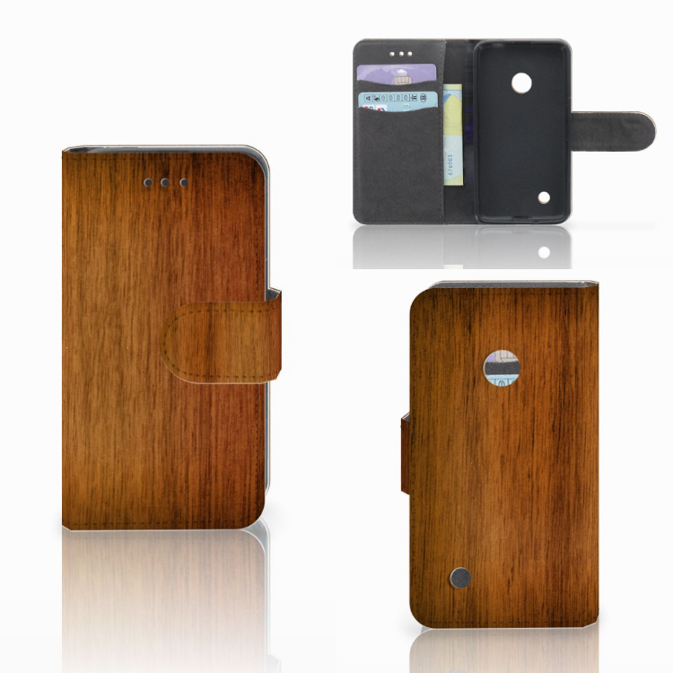 Nokia Lumia 530 Book Style Case Donker Hout