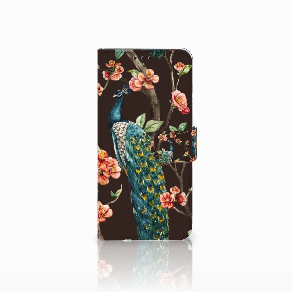 Huawei Nova 4 Boekhoesje Design Pauw met Bloemen