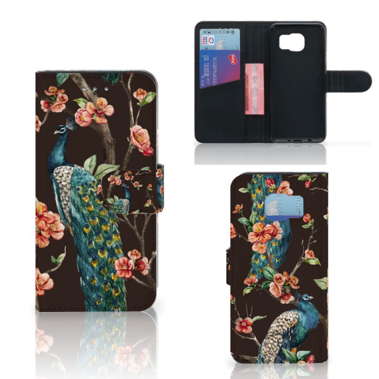 Samsung Galaxy S6 | S6 Duos Telefoonhoesje met Pasjes Pauw met Bloemen