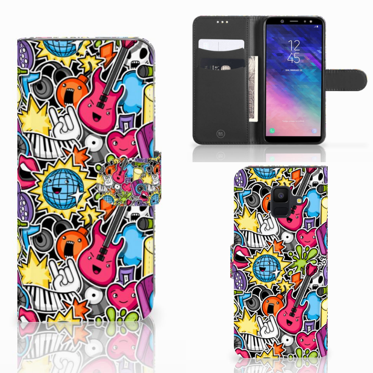 Samsung Galaxy A6 2018 Wallet Case met Pasjes Punk Rock