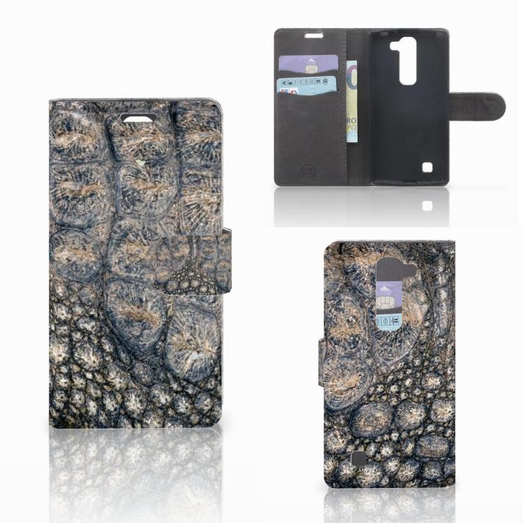 LG Magna   G4C Telefoonhoesje met Pasjes Krokodillenprint