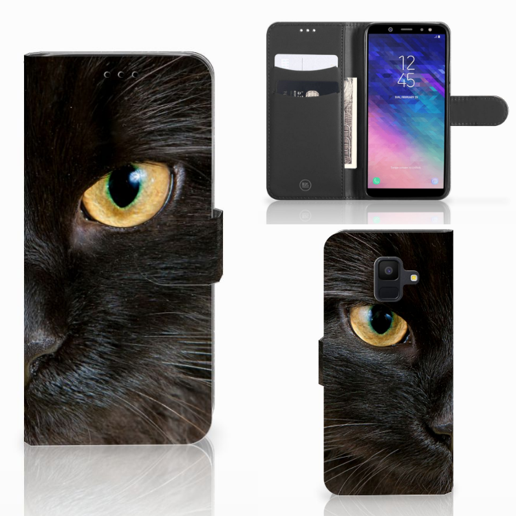 Samsung Galaxy A6 2018 Telefoonhoesje met Pasjes Zwarte Kat