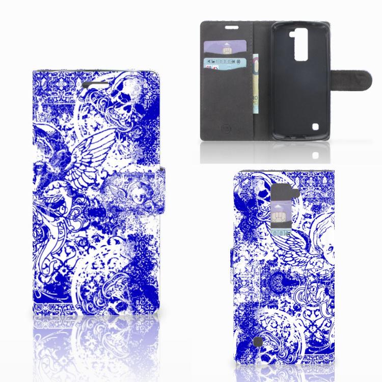 Telefoonhoesje met Naam LG K10 2015 Angel Skull Blauw