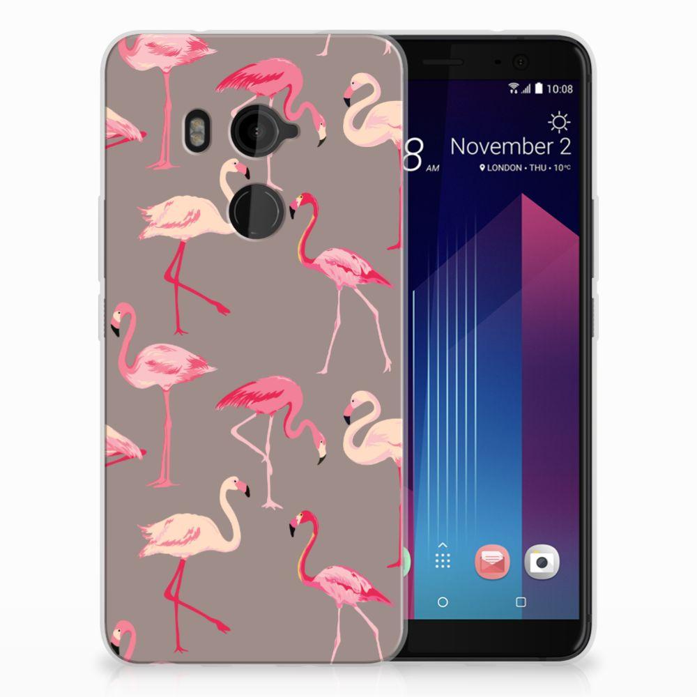HTC U11 Plus Uniek TPU Hoesje Flamingo