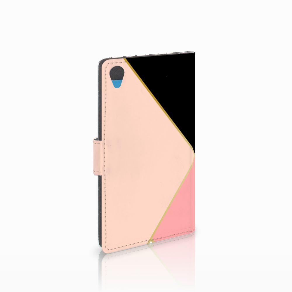 Sony Xperia Z3 Uniek Boekhoesje Black Pink Shapes
