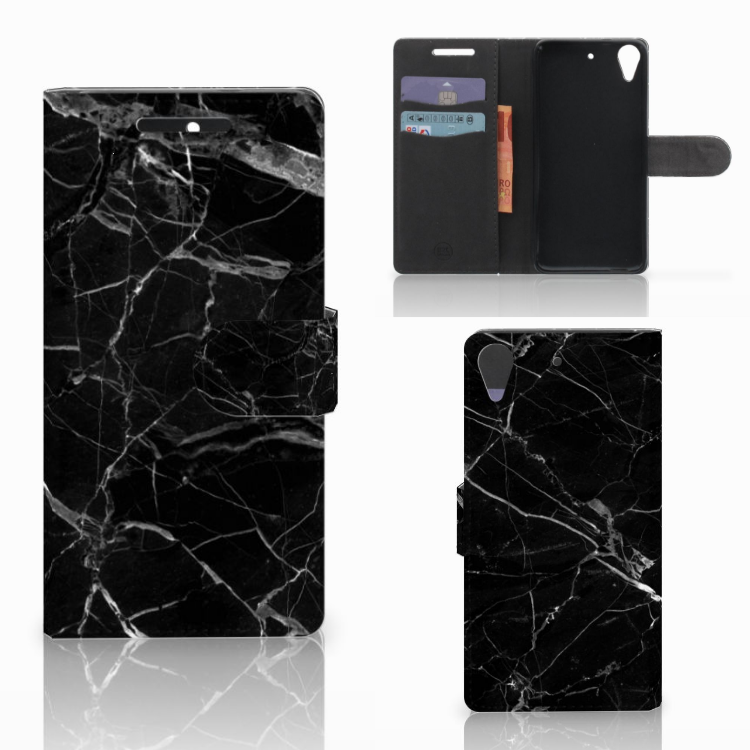 HTC Desire 628 Bookcase Marmer Zwart - Origineel Cadeau Vader