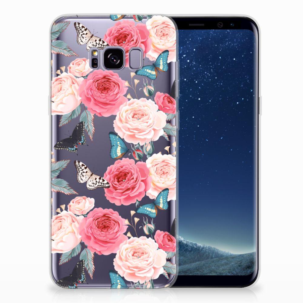 Samsung Galaxy S8 Plus Uniek TPU Hoesje Butterfly Roses