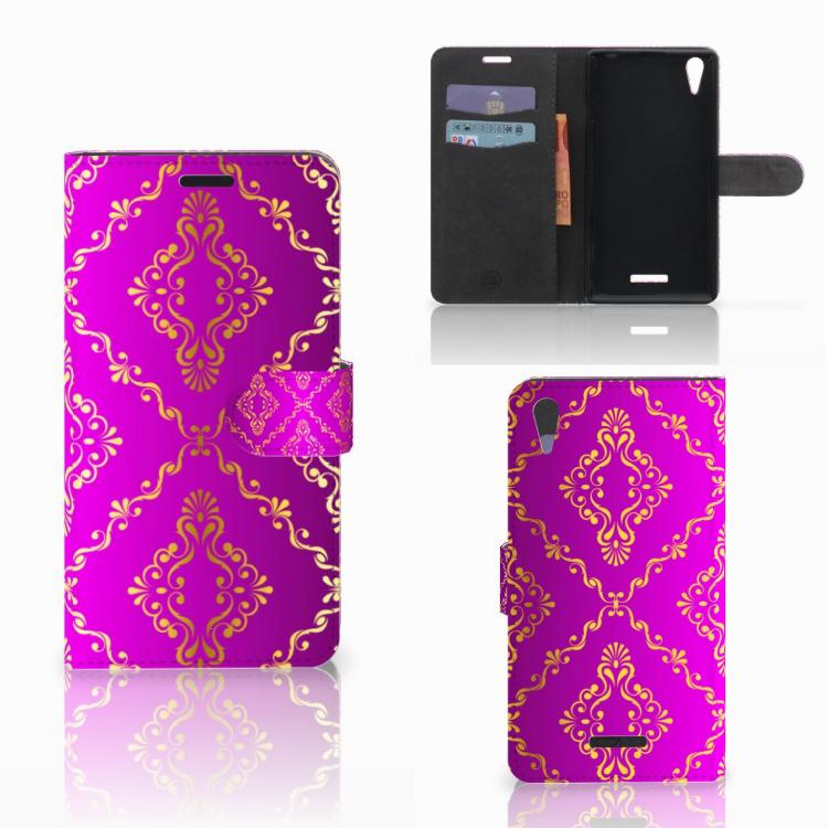 Wallet Case Sony Xperia T3 Barok Roze