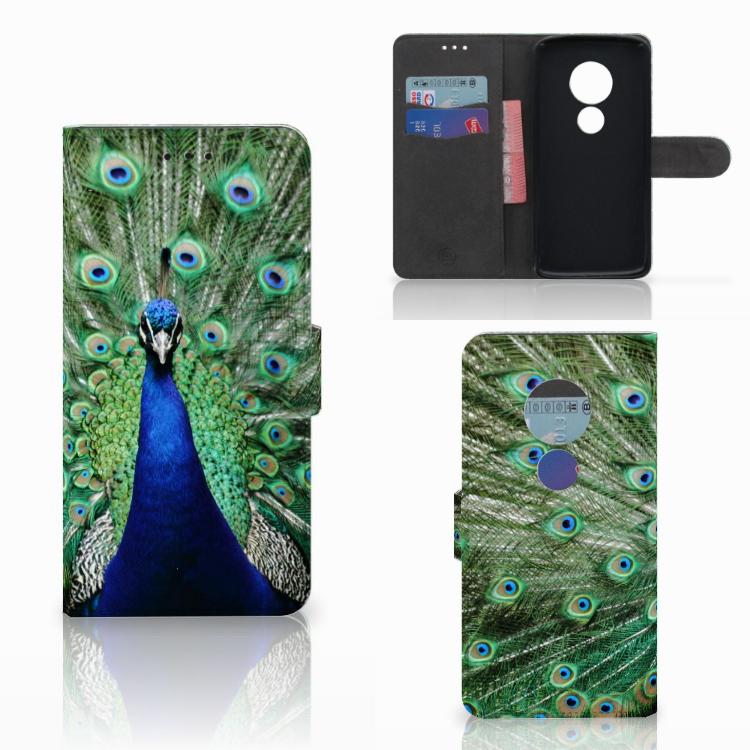 Motorola Moto E5 Telefoonhoesje met Pasjes Pauw