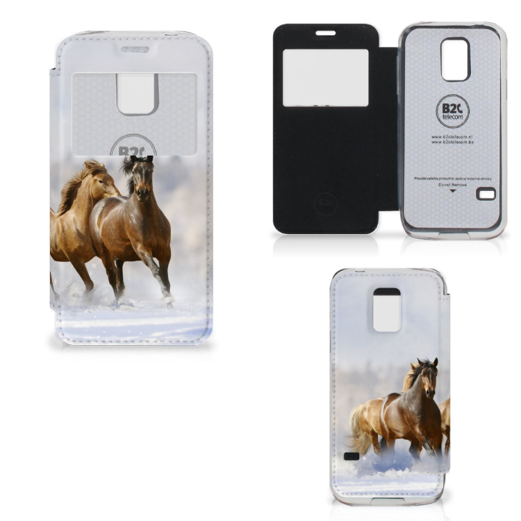 Samsung Galaxy S5 Mini Telefoonhoesje met Pasjes Paarden