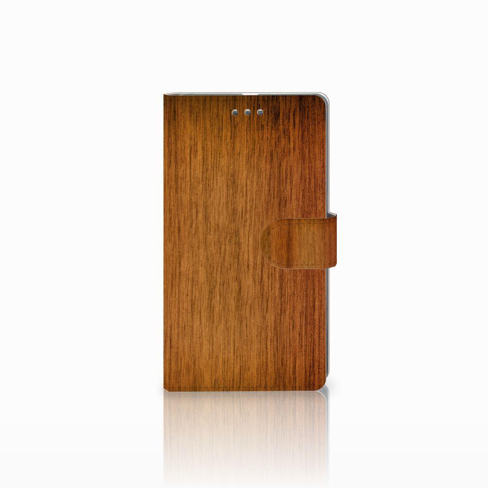 Microsoft Lumia 950 XL Uniek Boekhoesje Donker Hout