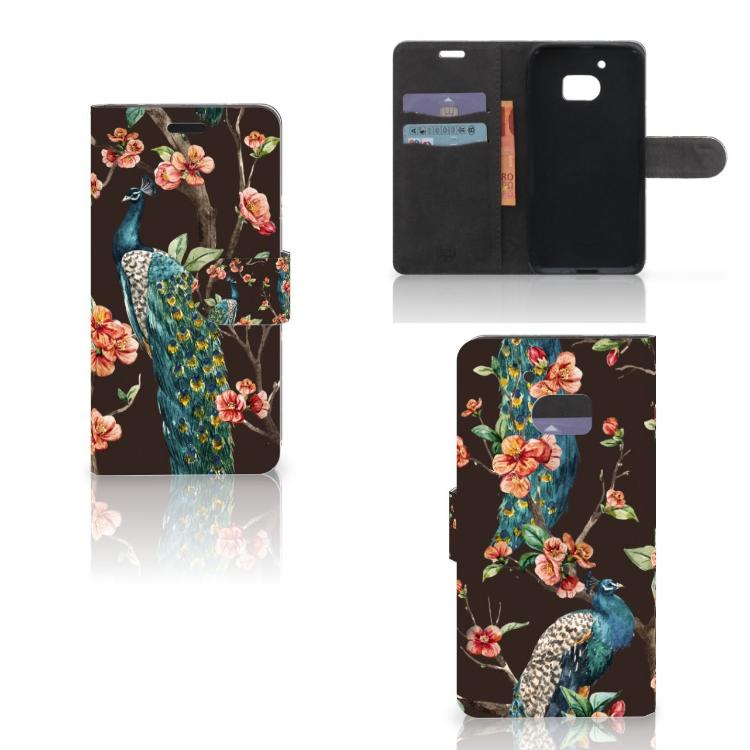 HTC 10 Telefoonhoesje met Pasjes Pauw met Bloemen