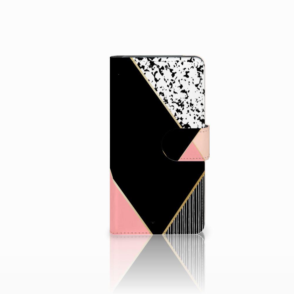 Huawei Y6 Pro 2017 Uniek Boekhoesje Black Pink Shapes