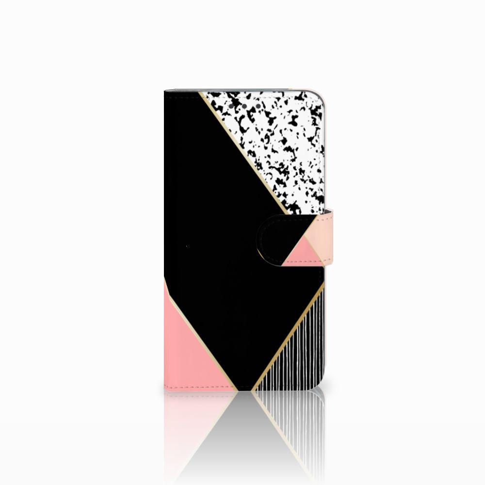 Motorola Moto E4 Plus Uniek Boekhoesje Black Pink Shapes
