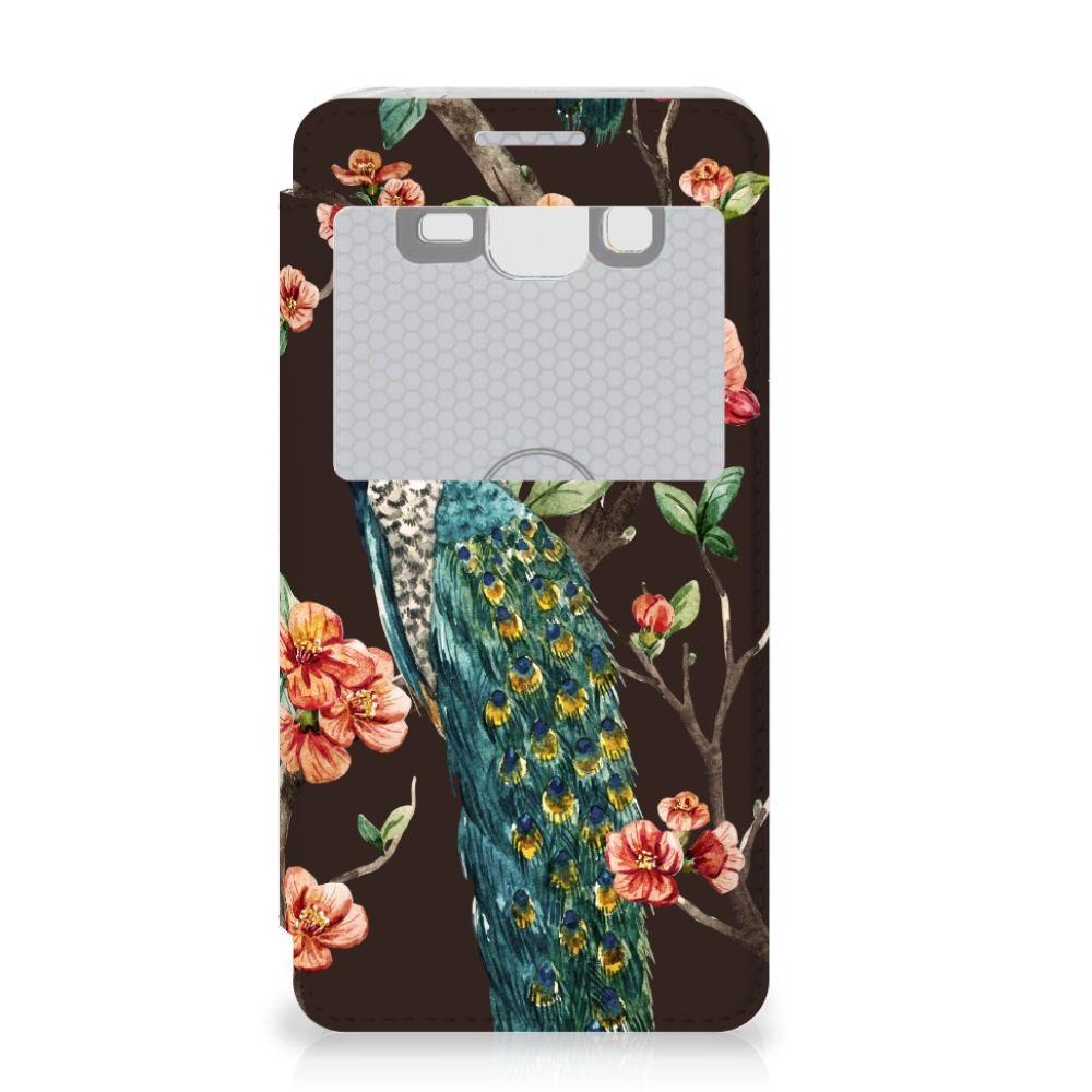 Samsung Galaxy Grand Prime Telefoonhoesje met Pasjes Pauw met Bloemen